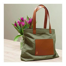 Bag: Canvas and Leather Tote Bag, Kaki