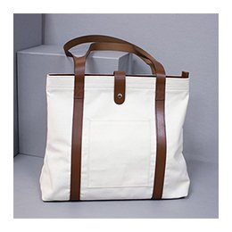 Bag: Canvas and Leather Tote Bag, White
