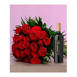 Flowerss & Wine:  24 Roses + 1 Bottle Ixsir EL