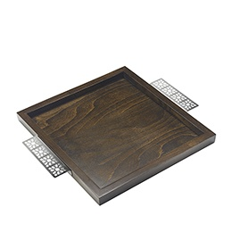 Tray: Moucharabieh Handles, Wood n Stainless Steel
