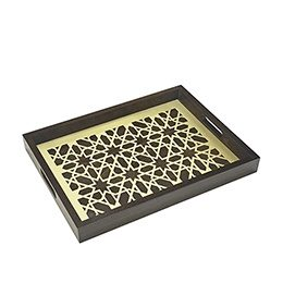 Tray: Moucharabieh Wood Brass and Glass