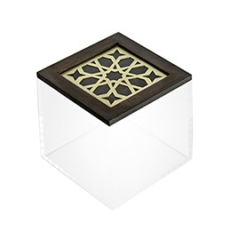 Square Box: Moucharabieh, Wood, Brass, Plexiglas