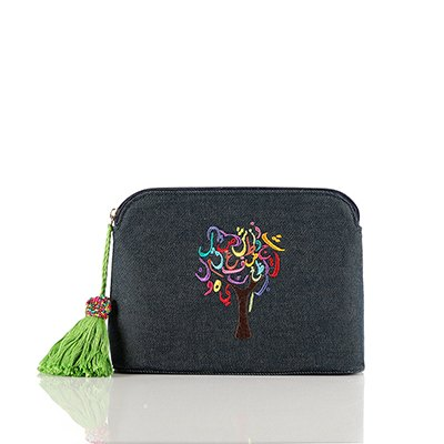 Pouch: Tree of Life, Jeans, Blue