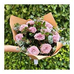 Flowers: 12 Lilac Roses and Greenery