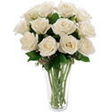 Flowers: 12 White Roses in a Vase (White Wishes