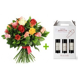 Flowerss & Wine:  24 Roses + 3 Bottles Sanctus